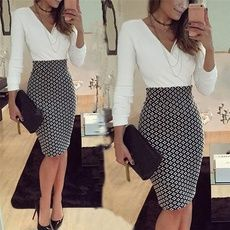 Buy Women OL Formal Business Work Stretch Dress 2016 Long Sleeve V-neck Plaid Patchwork Party Slim Bodycon Pencil Dress at Wish - Shopping Made Fun Business Casual Outfits, Office Outfits, Classy Outfits, Office Attire, Business Casual Female, Summer Business Attire, Office Wear, Stylish Outfits, Mode Outfits