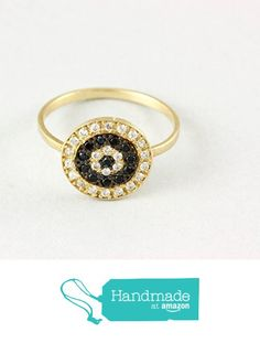 Target ring, 14K solid gold, round disc ring, black and white diamonds, gold ring for women, yellow/rose/white gold, AR065 from Kyklos Jewelry Lab http://www.amazon.com/dp/B01FQWBDJS/ref=hnd_sw_r_pi_dp_1gCpxb1VBF688 #handmadeatamazon