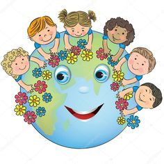 Illustration about Children hugging planet Earth. Contains transparent objects. Illustration of flower, couple, braids - 40648701
