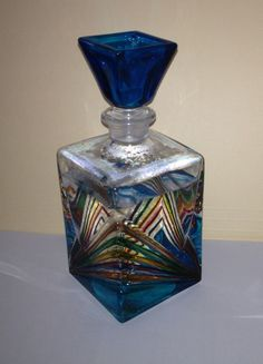 Venetian Murano Glass Perfume Bottle BOUGHT in Venice Italy --Cindy Wall went to the factory and saw them blow the glass and bought vases and paperweights as presents
