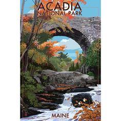 Acadia National Park, ME Stone (Grey) Bridge - LP Artwork (Acrylic Wall Clock) (Plastic)