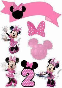 Minnie en Rosa: Toppers para Tartas, Tortas, Pasteles, Bizcochos o Cakes para Imprimir Gratis.