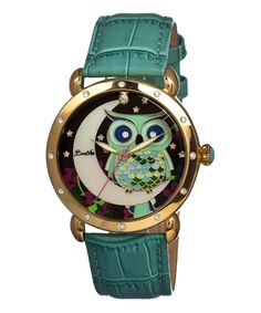 This Teal & Gold Owl Ashley Mother-of-Pearl Leather-Strap Watch by Bertha is perfect! #zulilyfinds