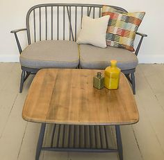 ERCOL WINDSOR 2 SEATER SOFA VINTAGE RETRO MID CENTURY FULLY RE-FURBISHED GREY