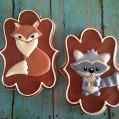 ♔ Fox and Squirrel Cookies Fall Cookies, Iced Cookies, Cute Cookies, Royal Icing Cookies, Cookies Et Biscuits, Cupcake Cookies, Sugar Cookies, Cupcakes, Cookie Tutorials