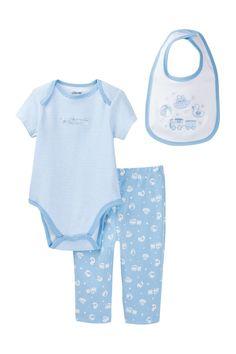 Blue Toys Bodysuit, Pants & Bib Set (Baby Boys)