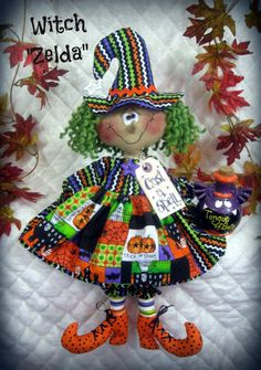 Primitive Raggedy Halloween Witch Pattern from Ginger Creek Crossing in Artesanías, Costura, Patrones de costura Halloween Sewing, Fall Sewing, Halloween Doll, Halloween Patterns, Holidays Halloween, Halloween Crafts, Happy Halloween, Halloween Decorations, Halloween Witches