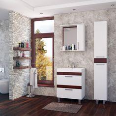 Функциональный комплект 👍мебели с современным дизайном: контрастное сочетание цветов, плавно закрывающиеся дверцы, шкаф с удобной откидной корзиной для белья, зеркальный шкафчик с розеткой и светильником. 🚿🛀Компактный набор для небольшой ванной комнаты. #смесители #сантехника #дизайн #ванна  Выбираем на сайте: http://santehnika-tut.ru/mebel-dlya-vannoj/