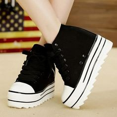 High Top Lace-Up Women Casual Shoes High Heels Platform Canvas Shoes Woman Insid. - Grace Triplett - - High Top Lace-Up Women Casual Shoes High Heels Platform Canvas Shoes Woman Insid. High Top Sneakers, Sneakers Mode, Sneakers Fashion, Skechers Sneakers, Fashion Heels, Fashion Black, Trendy Shoes, Cute Shoes, Casual Shoes