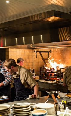 Washington D. is restaurant city of the year. Meat Restaurant, Luxury Restaurant, Restaurant Kitchen, Blue Kitchen Tiles, Modern Kitchen Tiles, Barbecue Pit, Cool Kitchens, Open Kitchens, L Shaped Kitchen