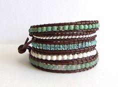 Turquoise Leather Wrap Bracelet - Aventurine, Turquoise, Crystal, Brown Leather - Boho Artisan by fabflamingowraps on Etsy https://www.etsy.com/listing/101227288/turquoise-leather-wrap-bracelet