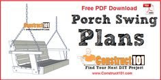 Porch swing plans - includes a free PDF download, shopping list, cutting list, and drawings with step-by-step instructions.