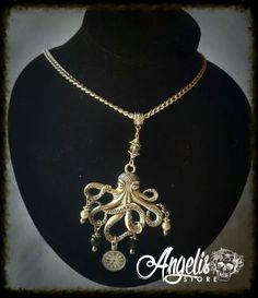 Nautical Octopus with Timepiece Necklace Octopus, Nautical, Necklaces, Stuff To Buy, Jewelry, Navy Marine, Jewlery, Jewerly, Schmuck