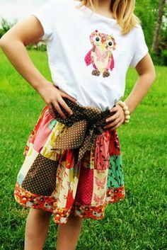 Skirt & appliqued shirt