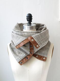 Cream and charcoal  circular infinity scarf by System63 on Etsy, $75.00 Use recycled shirt buttonup's from patchwork.