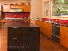 Cheryl's Berkeley Mills built walnut Island fitted with Fisher Paykel's new CookSurface Deep Cook top.
