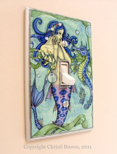 Mermaid and Seahorse Fantasy Art light switch plate cover
