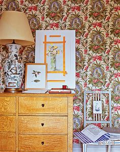 Lee Radziwill's home: lamp, chair, botanical art, epic wallpaper!