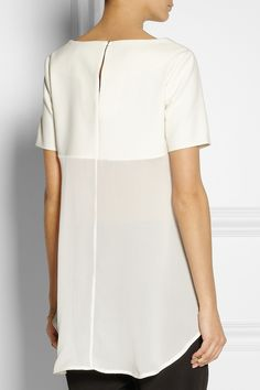 Elizabeth and James | Cerise jersey and silk-crepe top | NET-A-PORTER.COM