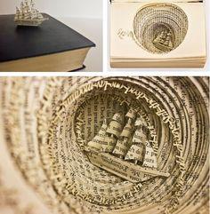 Amazing paper art! Book Sculpture, Sculptures Papier, Sea Sculpture, Altered Book Art, Paper Book, Paper Art, Book Folding, Gcse Art, Handmade Books