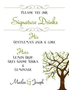 Oak Tree Signature Drinks Bar Menu / DIY Printable Wedding Sign ~ Use coupon code PINTEREST15 at checkout for 15% off of your total order! Wedding Venue Decorations, Wedding Venues, Wedding Signs, Wedding Stuff, Tree Bar, Blue Drinks, Wedding Inspiration, Wedding Ideas, Cream Wedding