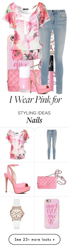 """""""Pretty in Pink"""" by aisling-loulou on Polyvore featuring GUESS, Casetify, Chanel, NARS Cosmetics, Alexander Wang, Jane Norman and ALDO"""