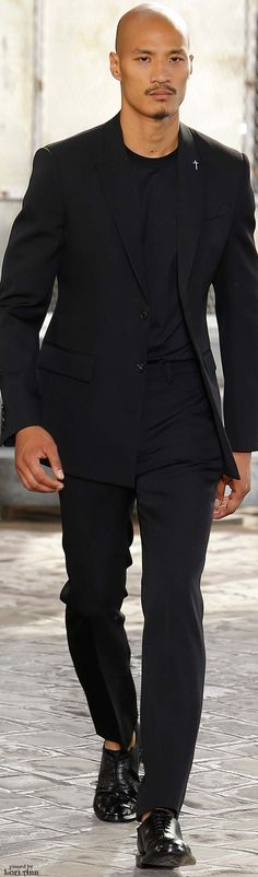 Givenchy Spring 2016 | black suit | black on black  | Men's Fashion | Menswear | Shop at designerclothingfans.com