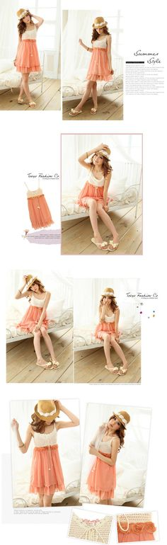 Crochet-Bib Chiffon Babydoll Dress - cute for spring/summer $30