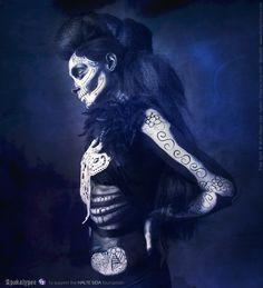 Apokalypse | Project : Apokalypse Created by : The Free Spirit Model : Charlotte M. Body painter : AllisonKatiusMakeUp Hairstylist : Murielle Muriellek Stylism : Fraise au Loup Créations  website : www.freespiritcrew.com facebook : www.facebook.com/freespiritcrew  #headpiece #headdress #freespirit #ange #sombre #darkbeauty #fashion #tattoo #hairstyle