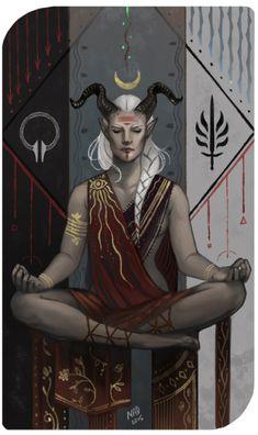 Qunari Inquisitor by DemonLife, Dragon Age Inquisition Dragon Age Inquisition, Solas Dragon Age, Character Creation, Character Concept, Character Art, Character Design, Dnd Characters, Fantasy Characters, Dragon Age Tarot Cards