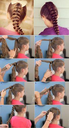 Peinado para niña: trenza atravesada paso a paso (video y fototutorial) - Peinados Fáciles
