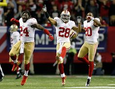 San Francisco has reason to celebrate. (Getty Images) - beat Falcons 28-24 to punch Super Bowl 2013