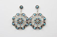 Zuni Turquoise Snowflake Drop Earrings by Murry & Arlene Tsatie