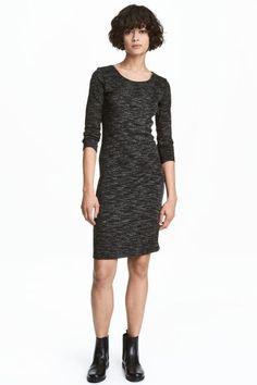 Трикотажное платье - Черный меланж - Женщины | H&M RU 1