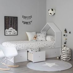 casita bed with drawers - Kenay Home Baby Bedroom, Baby Boy Rooms, Little Girl Rooms, Girls Bedroom, Trendy Bedroom, White Bedroom, Black White And Grey Bedroom, Bedroom Decor, Kid Spaces