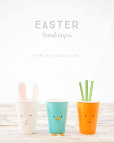 Simple Easter Treat Cups – quick and inexpensive fun for the kids this Easter season! : Simple Easter Treat Cups – quick and inexpensive fun for the kids this Easter season! Easter Activities, Easter Crafts For Kids, Bunny Crafts, Kid Crafts, Hoppy Easter, Easter Eggs, Easter Table, Easter Bunny, Easter Garland