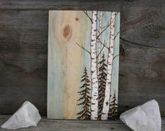 Abedul árboles  Art Block  leña