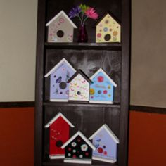 Bird house fronts made from scrap wood House Front, Scrap, Birds, Holiday Decor, Wood, Home Decor, Madeira, Homemade Home Decor, Woodwind Instrument