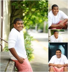 African American guy senior pictures in shorts and white shirt_Studio B Portraits_0361