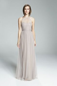 High neckline with illusion front dress from Amsale Bridesmaids. Shown in Latte and Ecru.