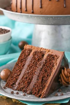 Drunken Chocolate Truffle Cake - layers of moist chocolate cake and truffle filling studded with Godiva Chocolate Liqueur!