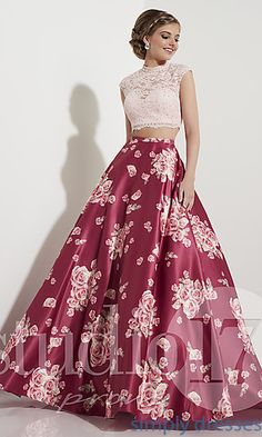Long Floral Print Two-Piece Prom Dress