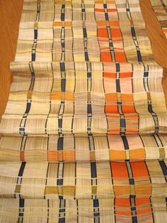 Unique Vintage Japanese Wool Kimono Fabric Set of (5) Pcs - Pale Yellow Orange Blue Woven Pattern.