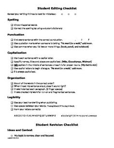 This product is perfect for students in grades 3-12 who struggle with the writing process, specifically editing and revision. With easy to use editing and revision checklists, your students are sure to increase their writing abilities! I've also included a teacher editing checklist and revision checklist with examples for suggestions.