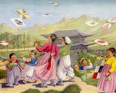 Old Korea The Land of the Morning Calm by Elizabeth Keith and E. A 1946 tourism or culture info book written and illustrated during the Colonial Period. Korean Art, Asian Art, South Korea Culture, Illustrator, Korean Painting, Korean Hanbok, Asian History, Creative Pictures, Naive Art
