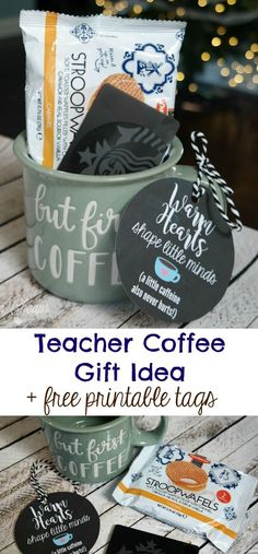 Teacher Coffee Gift Mug Idea - use vinyl and cutting machine for mug Looking for a cute Coffee Mug with Gift Card Teacher Gift Idea + Printable Tag? Look no further! This gift idea is easy and perfect for a teacher who loves coffee. Teacher Gift Tags, Teacher Gift Baskets, Teacher Christmas Gifts, Great Teacher Gifts, Teacher Appreciation Gifts, Holiday Gifts, Teacher Presents, Teacher Birthday Gifts, Thank You Teacher Gifts