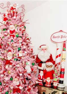 How do you decorate a giant pink Christmas tree? With a collection of vintage Santa dolls of course. : How do you decorate a giant pink Christmas tree? With a collection of vintage Santa dolls of course. Silver Christmas, Christmas Balls, Family Christmas, Vintage Christmas, Christmas Diy, Christmas Mantles, Victorian Christmas, Christmas Ornaments, Pink Christmas Tree Decorations