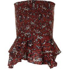 Isabel Marant Étoile Burgundy Shirred Alfos Skirt (£110) ❤ liked on Polyvore featuring skirts, floral printed skirt, flower print skirt, wide skirt, travel skirt and floral skirt