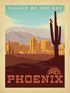 Phoenix, AZ - Anderson Design Group has created an award-winning series of classic travel posters that celebrates the history and charm of America's greatest cities and national parks. Founder Joel Anderson directs a team of talented Nashville-based artists to keep the collection growing. This print celebrates the arid beauty of Phoenix, Arizona. Printed on gallery-grade matte-finished paper, this print is sure to add lasting beauty to any home or office wall.