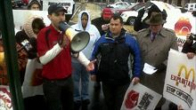 Fast food workers protest in 7 cities ... YAY!!!  YOU GO!!!!